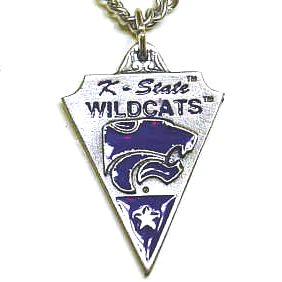 College Chain Necklace and Pendant - Kansas State - Our  college key ring combines fine leather surrounding a sculpted & enameled pewter college team emblem. The intricate design and craftsmanship makes this key ring a unique gift. Made in America.  Thank you for shopping with CrazedOutSports.com