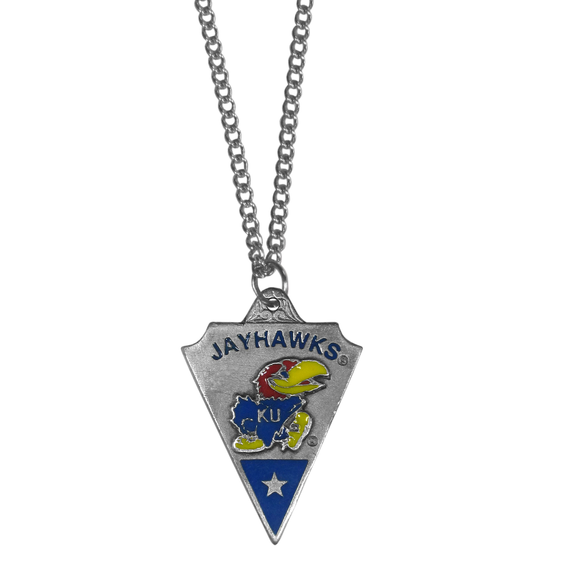 College Chain Necklace & Pendant - Kansas Jayhawks - Kansas Jayhawks college chain necklace with enameled pewter team pendant. College Chain Necklace & Pendant - Kansas Jayhawks. Check out our entire line of  jewelry! Thank you for shopping with CrazedOutSports.com