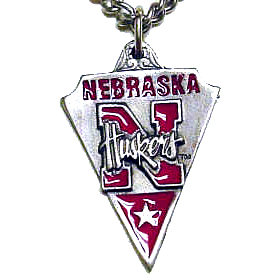 College  Chain Necklace & Pendant - Nebraska -  college chain necklace with enameled pewter team pendant. Check out our entire line of  jewelry! Thank you for shopping with CrazedOutSports.com