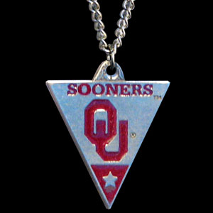 College Chain Necklace & Pendant - Oklahoma Sooners -  college chain necklace with enameled pewter team pendant. Check out our entire line of  jewelry! Thank you for shopping with CrazedOutSports.com