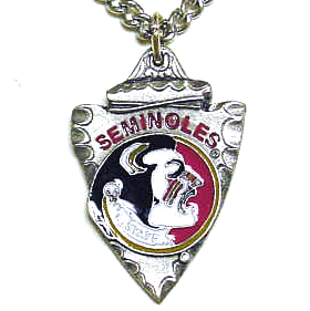 College Chain Necklace & Pendant - Florida State Seminoles - Florida State Seminoles college chain necklace with enameled pewter Florida State Seminoles team pendant. Check out our entire line of  jewelry! Thank you for shopping with CrazedOutSports.com