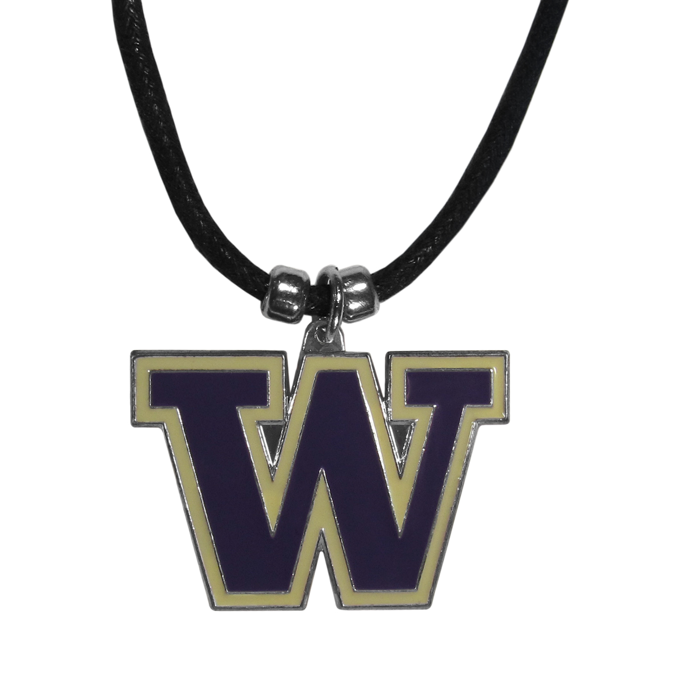 Washington Huskies Cord Necklace - This classic style cotton cord necklace features an extra large Washington Huskies pendant on a 21 inch cord.
