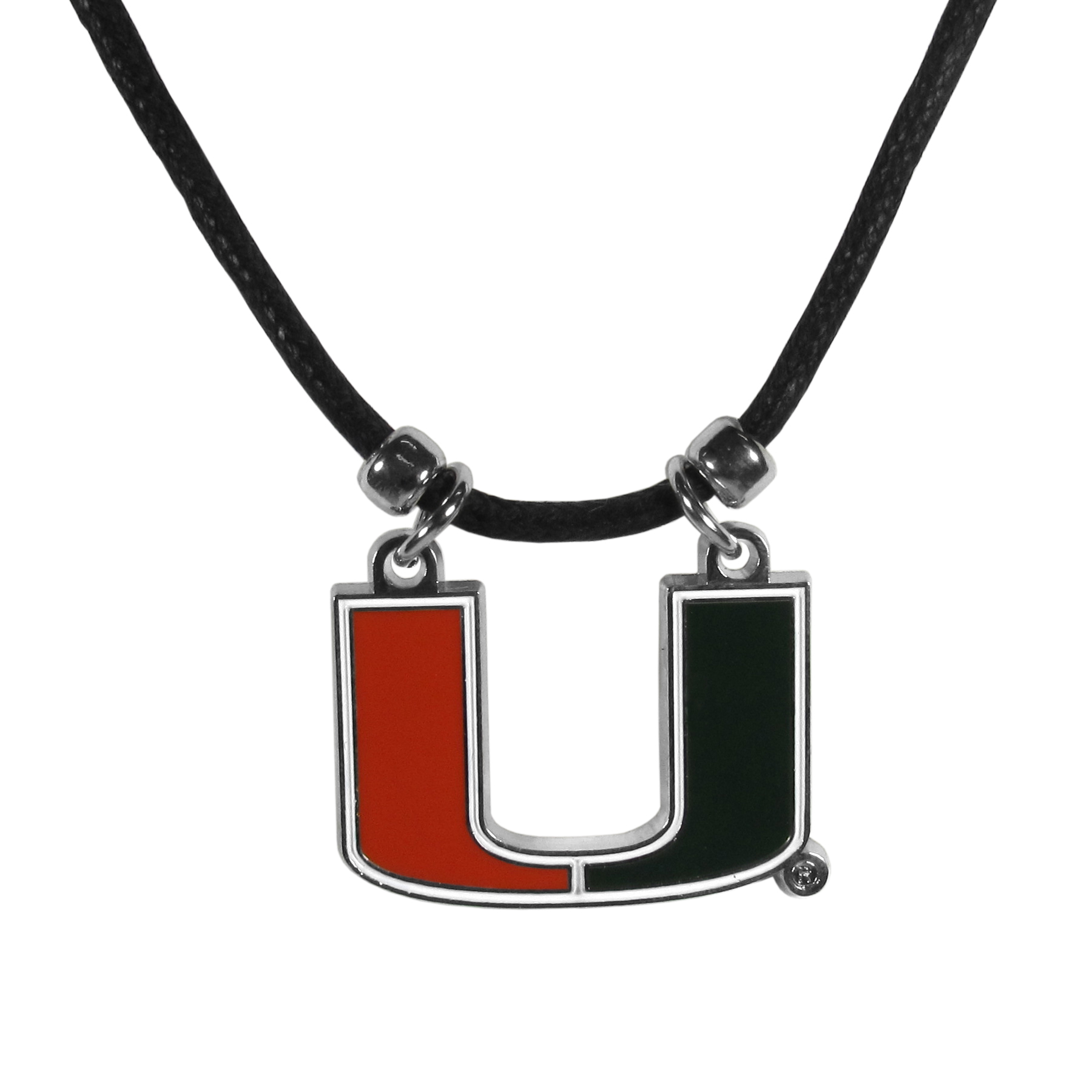 Miami Hurricanes Cord Necklace - This classic style cotton cord necklace features an extra large Miami Hurricanes pendant on a 21 inch cord.