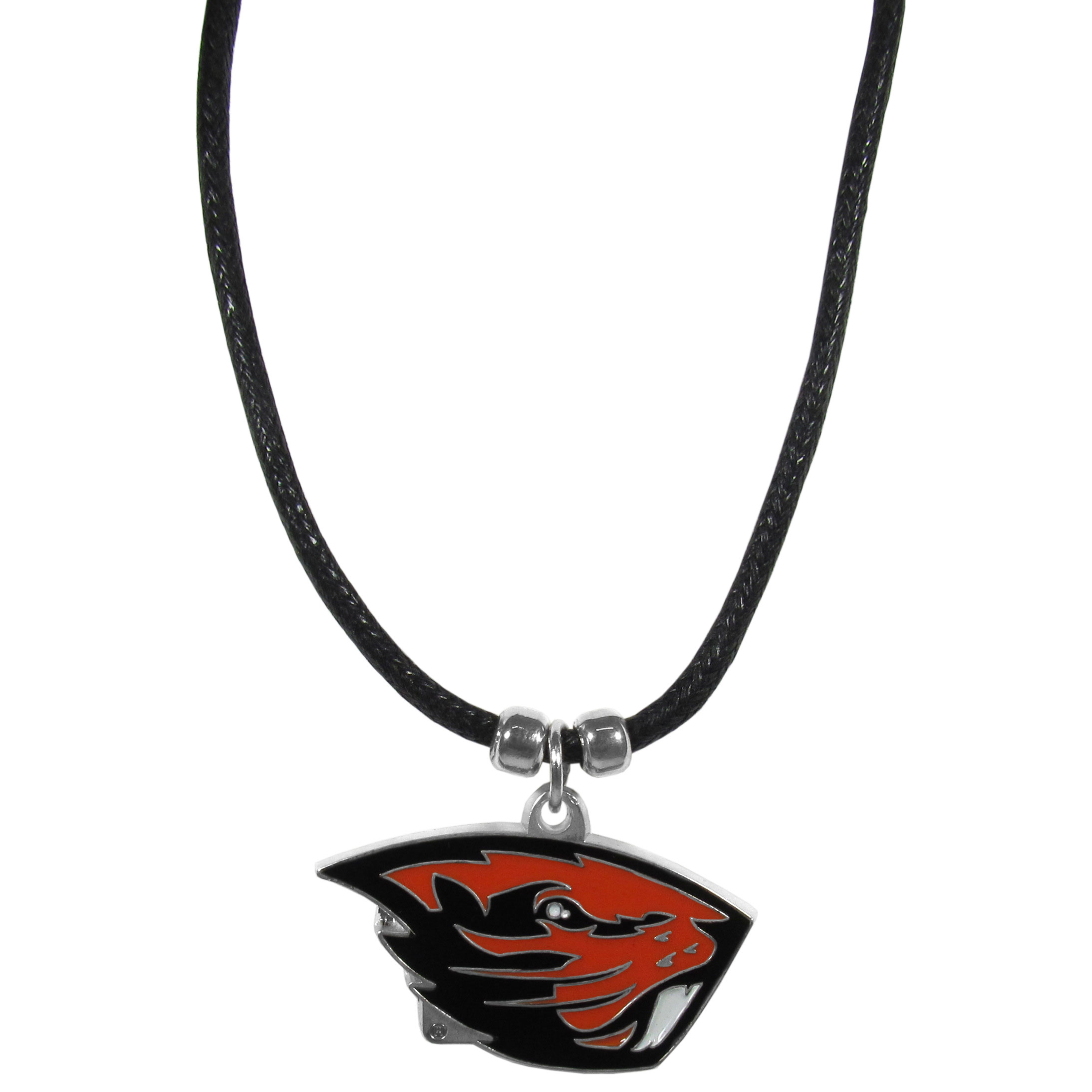 Oregon St. Beavers Cord Necklace - This classic style cotton cord necklace features an extra large Oregon St. Beavers pendant on a 21 inch cord.