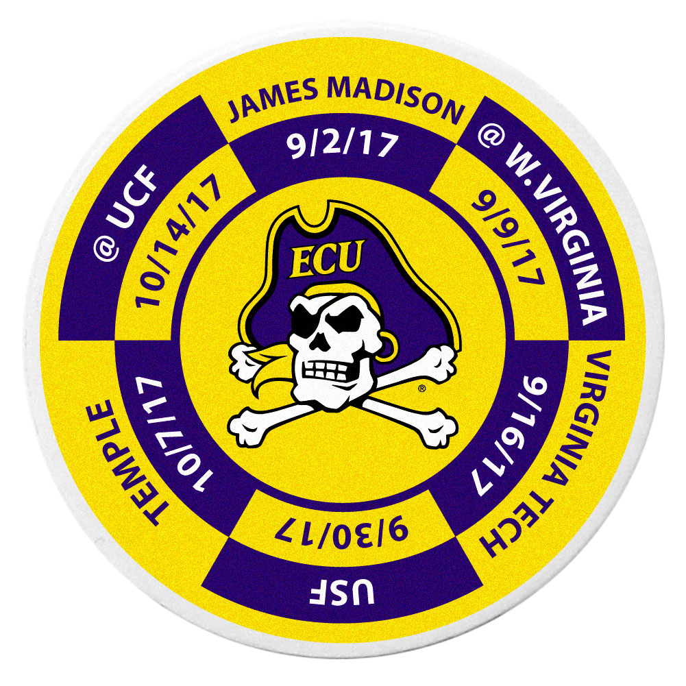 East Carolina Pirates Schedule Golf Ball Marker Coin - Trick out your golf gear with our East Carolina Pirates schedule coin that acts as a golf ball marker when on the links or a cool collector's item. The light weight coin features the teams football schedule in vivid team colors.