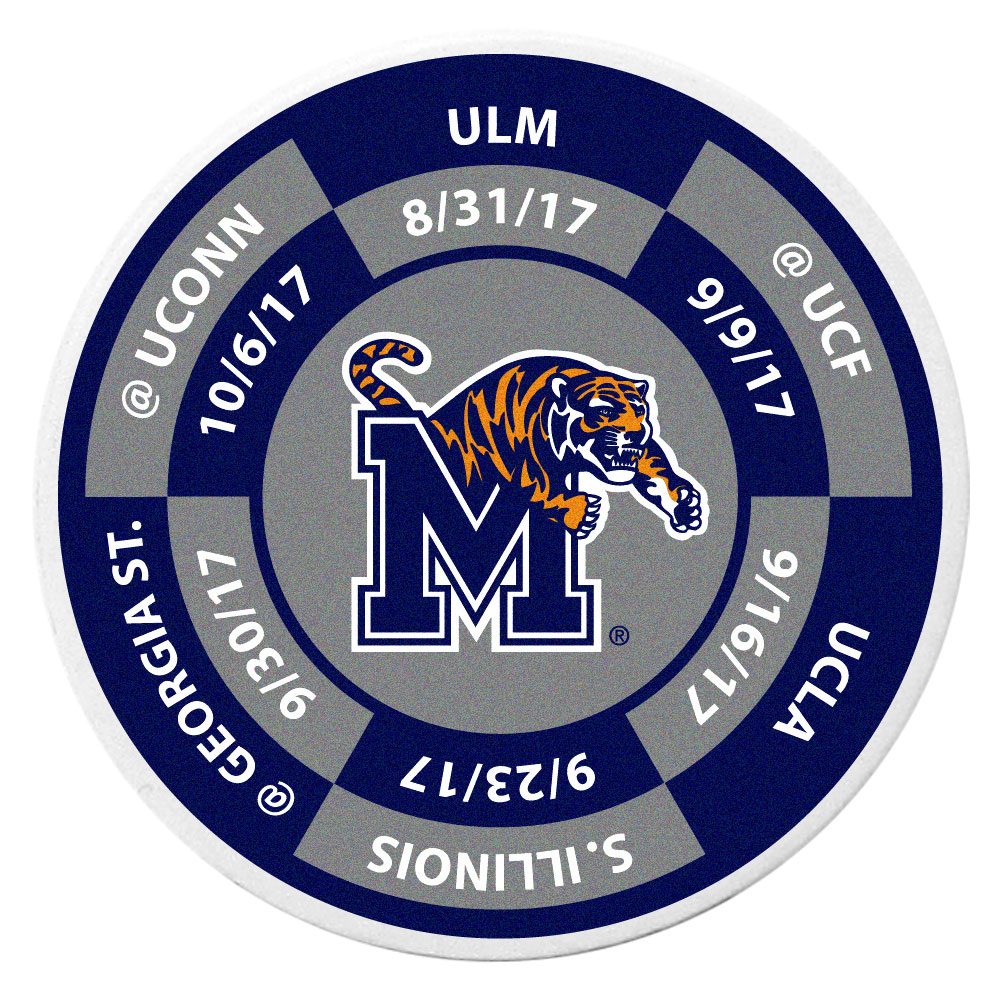 Memphis Tigers Schedule Golf Ball Marker Coin - Trick out your golf gear with our Memphis Tigers schedule coin that acts as a golf ball marker when on the links or a cool collector's item. The light weight coin features the teams football schedule in vivid team colors.