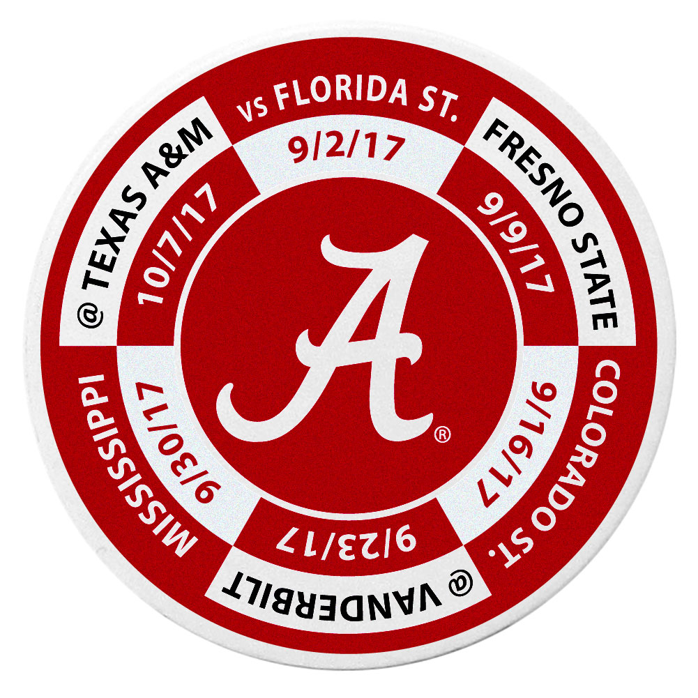 Alabama Crimson Tide Schedule Golf Ball Marker Coin - Trick out your golf gear with our Alabama Crimson Tide schedule coin that acts as a golf ball marker when on the links or a cool collector's item. The light weight coin features the teams football schedule in vivid team colors.