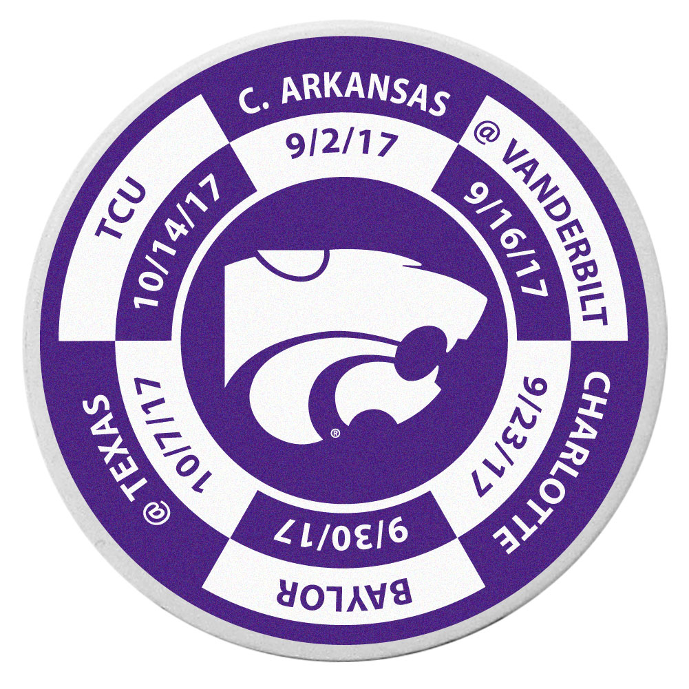 Kansas St. Wildcats Schedule Golf Ball Marker Coin - Trick out your golf gear with our Kansas St. Wildcats schedule coin that acts as a golf ball marker when on the links or a cool collector's item. The light weight coin features the teams football schedule in vivid team colors.