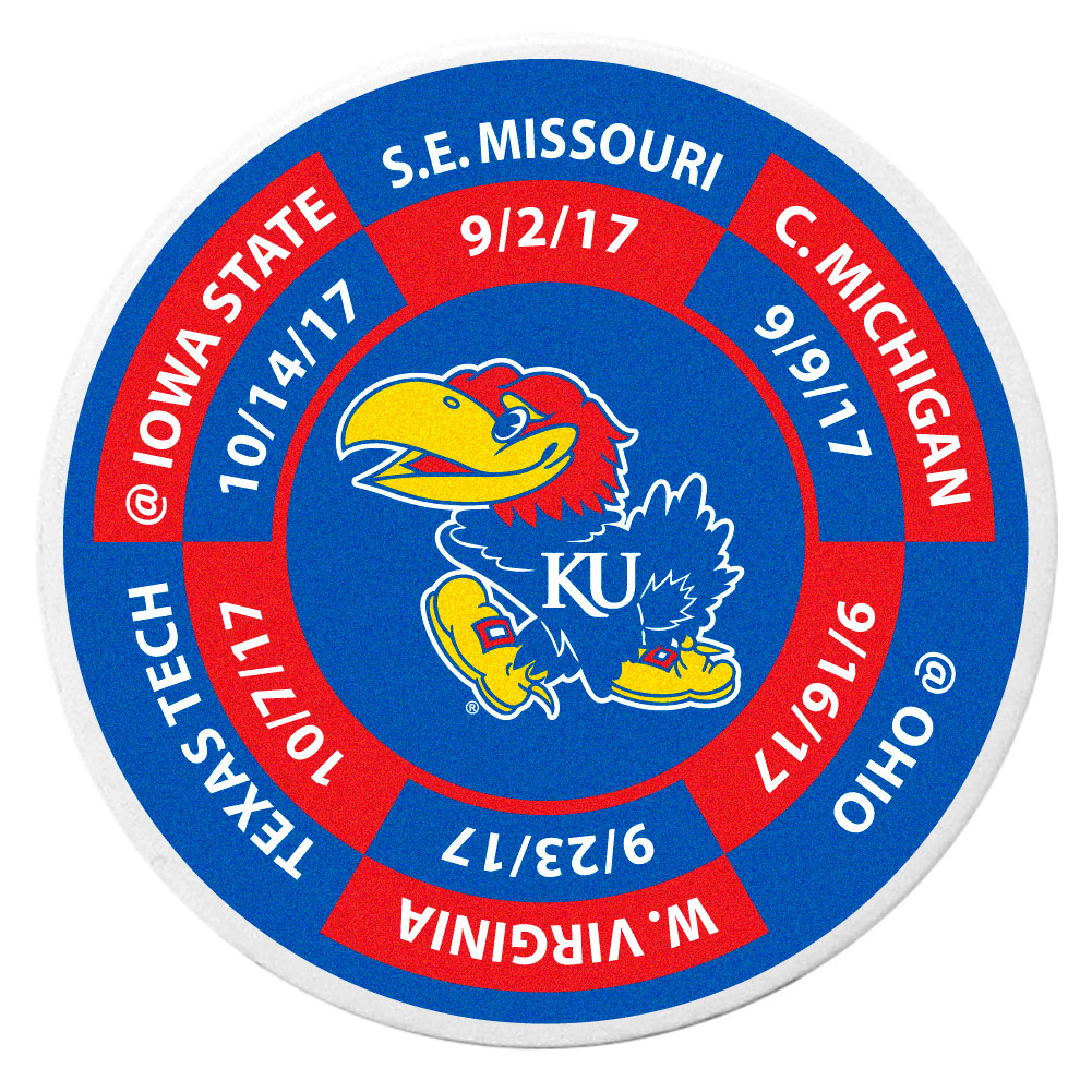 Kansas Jayhawks Schedule Golf Ball Marker Coin - Trick out your golf gear with our Kansas Jayhawks schedule coin that acts as a golf ball marker when on the links or a cool collector's item. The light weight coin features the teams football schedule in vivid team colors.
