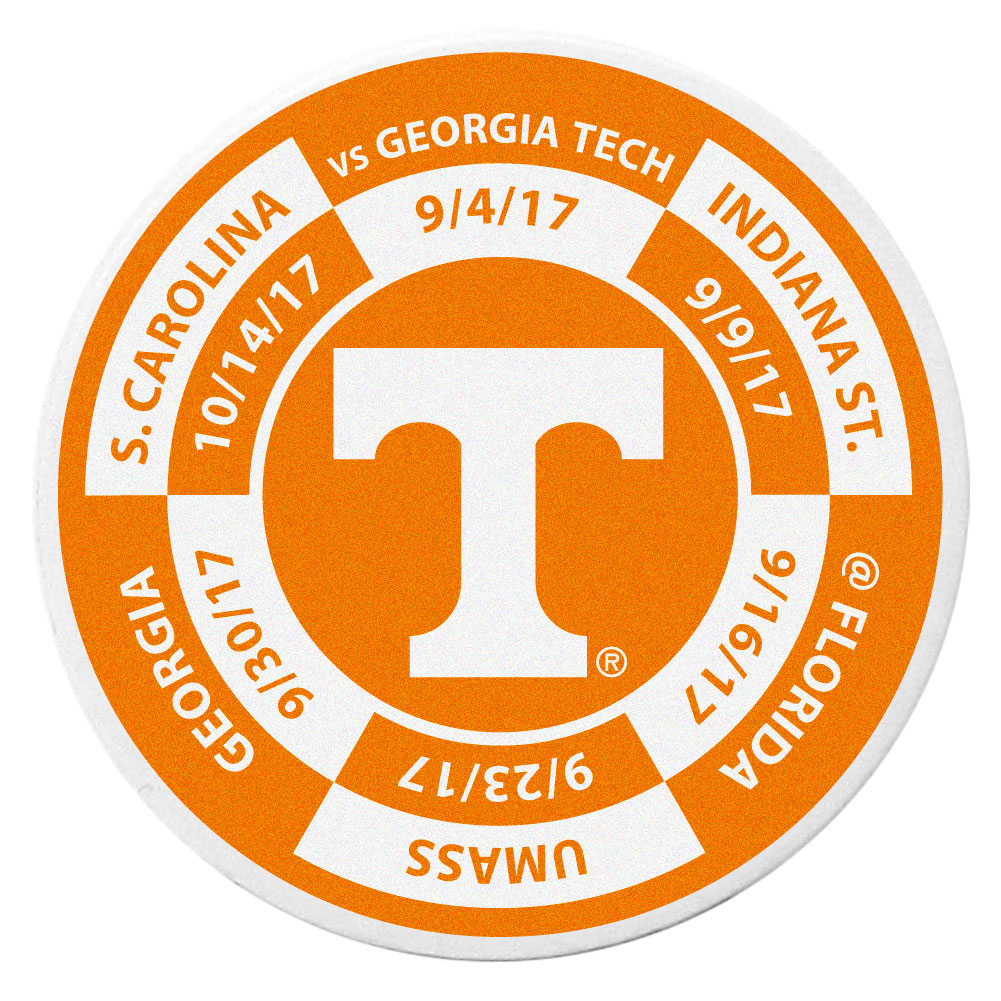 Tennessee Volunteers Schedule Golf Ball Marker Coin - Trick out your golf gear with our Tennessee Volunteers schedule coin that acts as a golf ball marker when on the links or a cool collector's item. The light weight coin features the teams football schedule in vivid team colors.