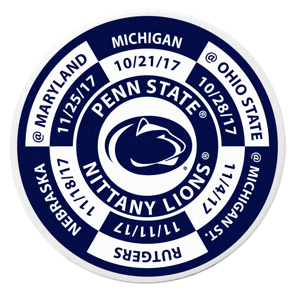 Penn St. Nittany Lions Schedule Golf Ball Marker Coin - Trick out your golf gear with our Penn St. Nittany Lions schedule coin that acts as a golf ball marker when on the links or a cool collector's item. The light weight coin features the teams football schedule in vivid team colors.