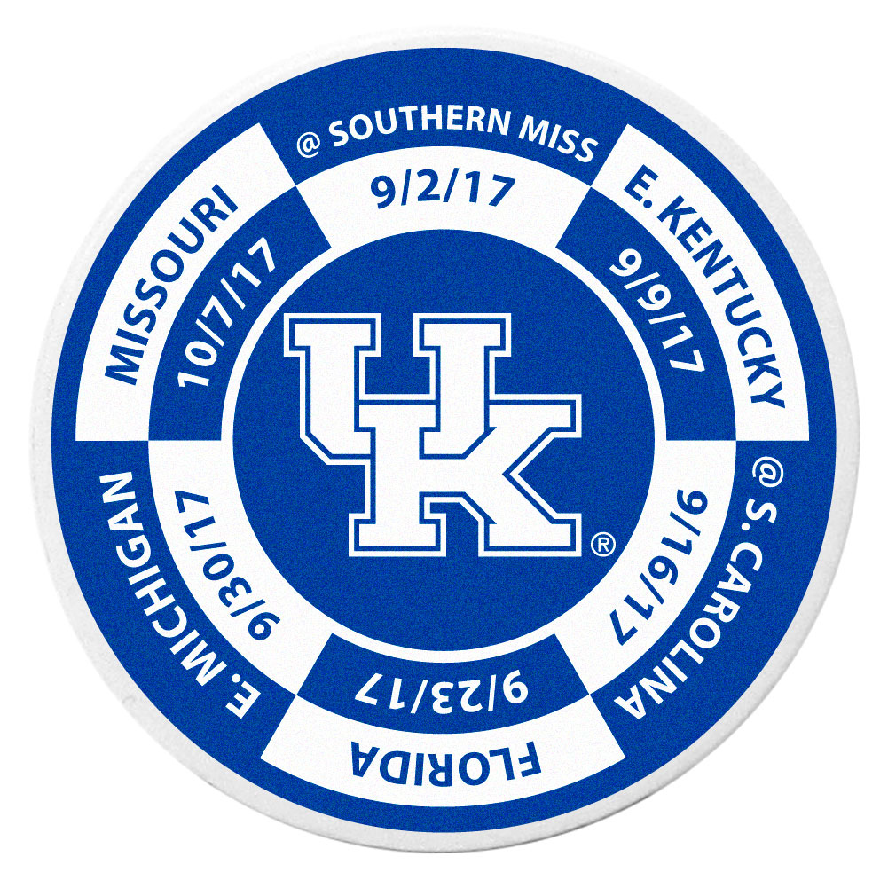 Kentucky Wildcats Schedule Golf Ball Marker Coin - Trick out your golf gear with our Kentucky Wildcats schedule coin that acts as a golf ball marker when on the links or a cool collector's item. The light weight coin features the teams football schedule in vivid team colors.
