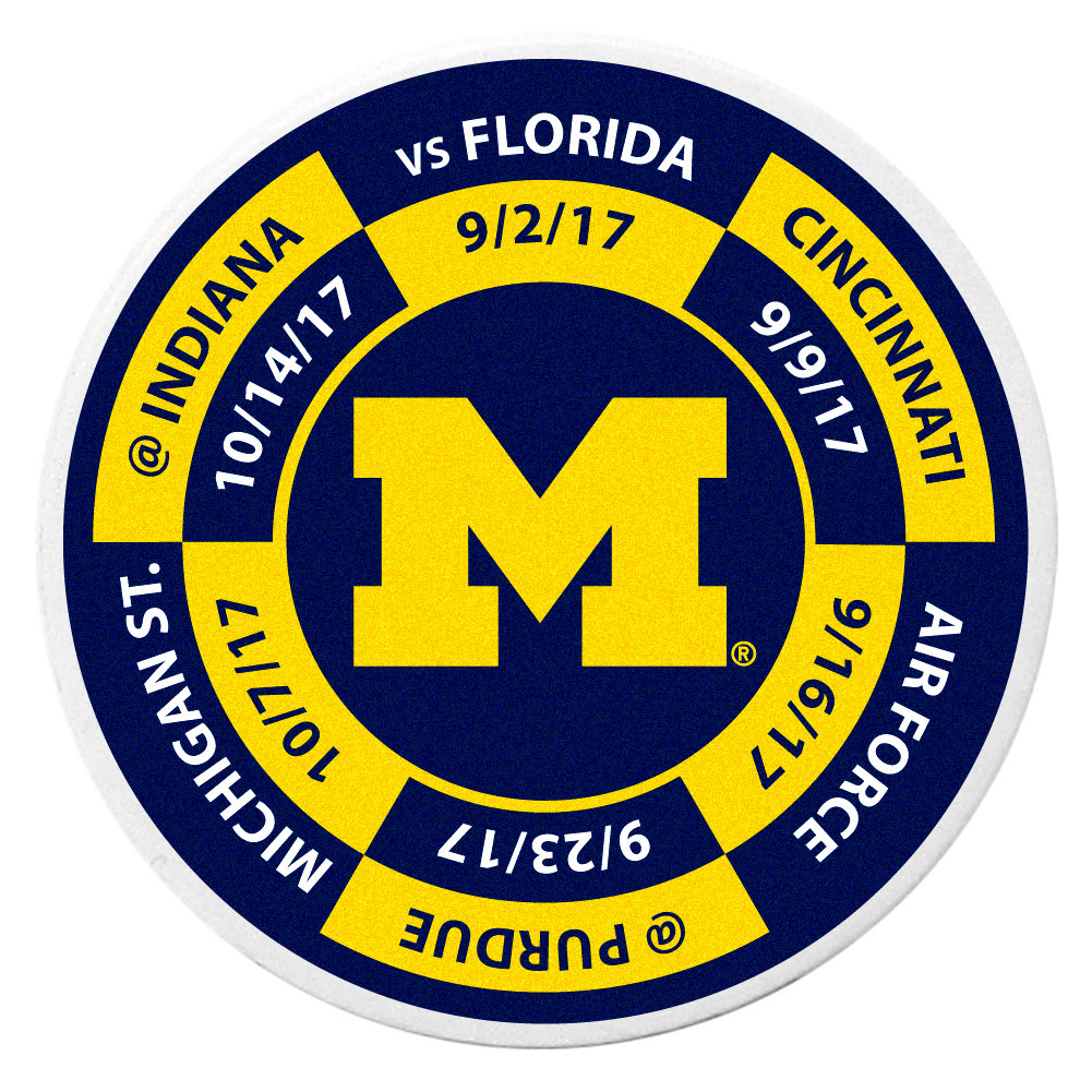 Michigan Wolverines Schedule Golf Ball Marker Coin - Trick out your golf gear with our Michigan Wolverines schedule coin that acts as a golf ball marker when on the links or a cool collector's item. The light weight coin features the teams football schedule in vivid team colors.