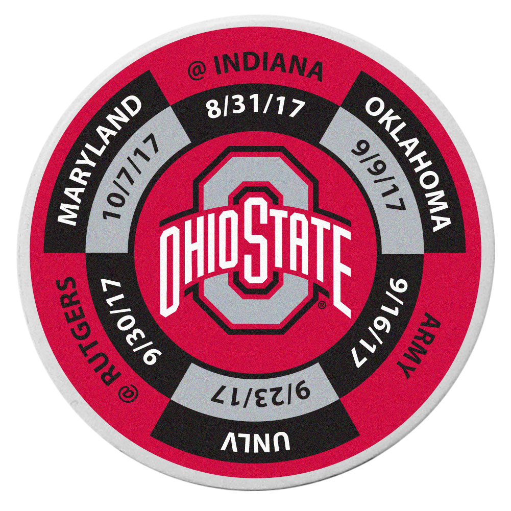 Ohio St. Buckeyes Schedule Golf Ball Marker Coin - Trick out your golf gear with our Ohio St. Buckeyes schedule coin that acts as a golf ball marker when on the links or a cool collector's item. The light weight coin features the teams football schedule in vivid team colors.