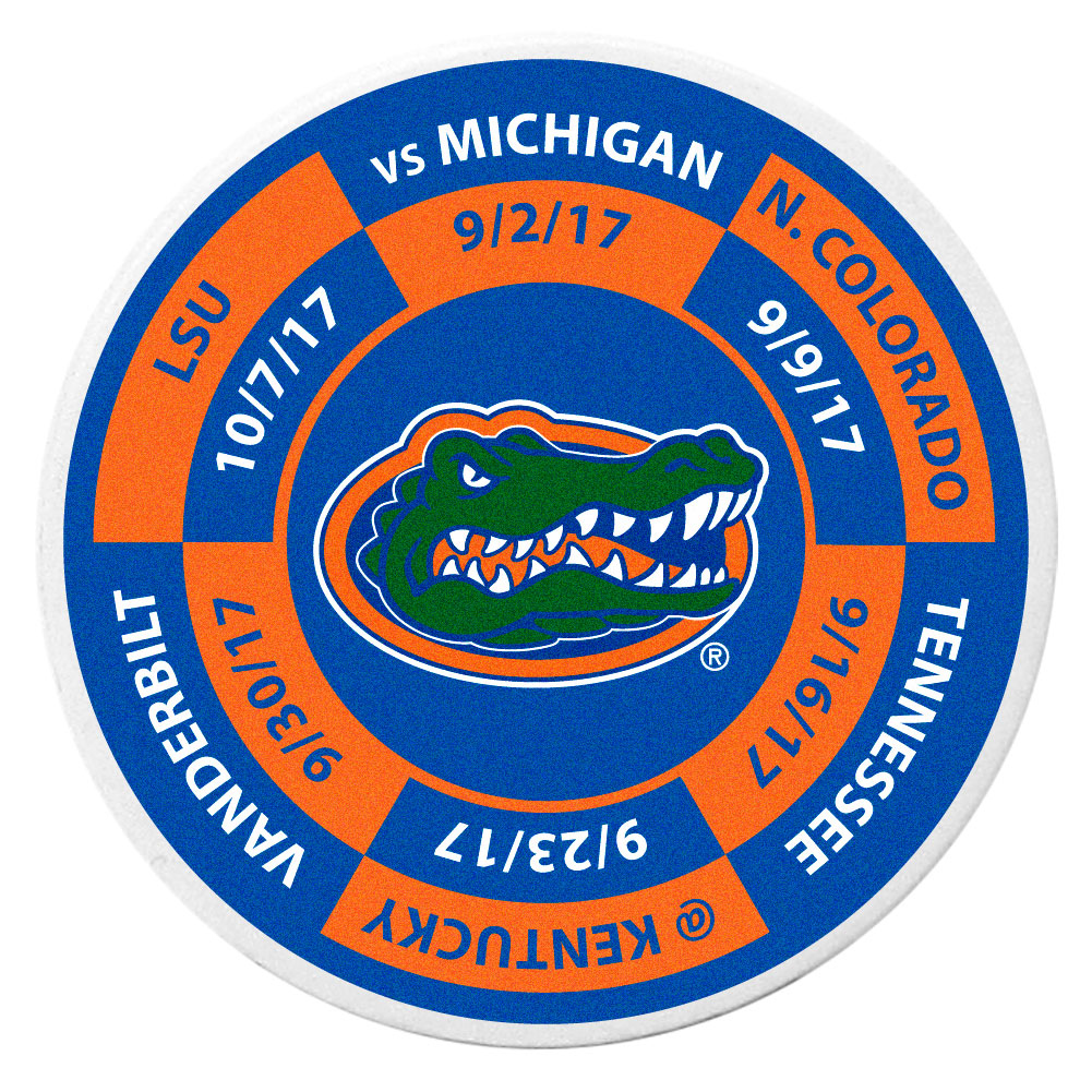 Florida Gators Schedule Golf Ball Marker Coin - Trick out your golf gear with our Florida Gators schedule coin that acts as a golf ball marker when on the links or a cool collector's item. The light weight coin features the teams football schedule in vivid team colors.