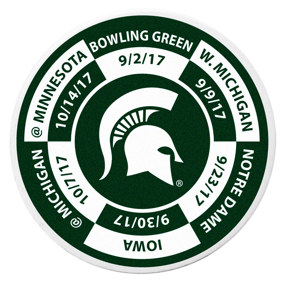 Michigan St. Spartans Schedule Golf Ball Marker Coin - Trick out your golf gear with our Michigan St. Spartans schedule coin that acts as a golf ball marker when on the links or a cool collector's item. The light weight coin features the teams football schedule in vivid team colors.