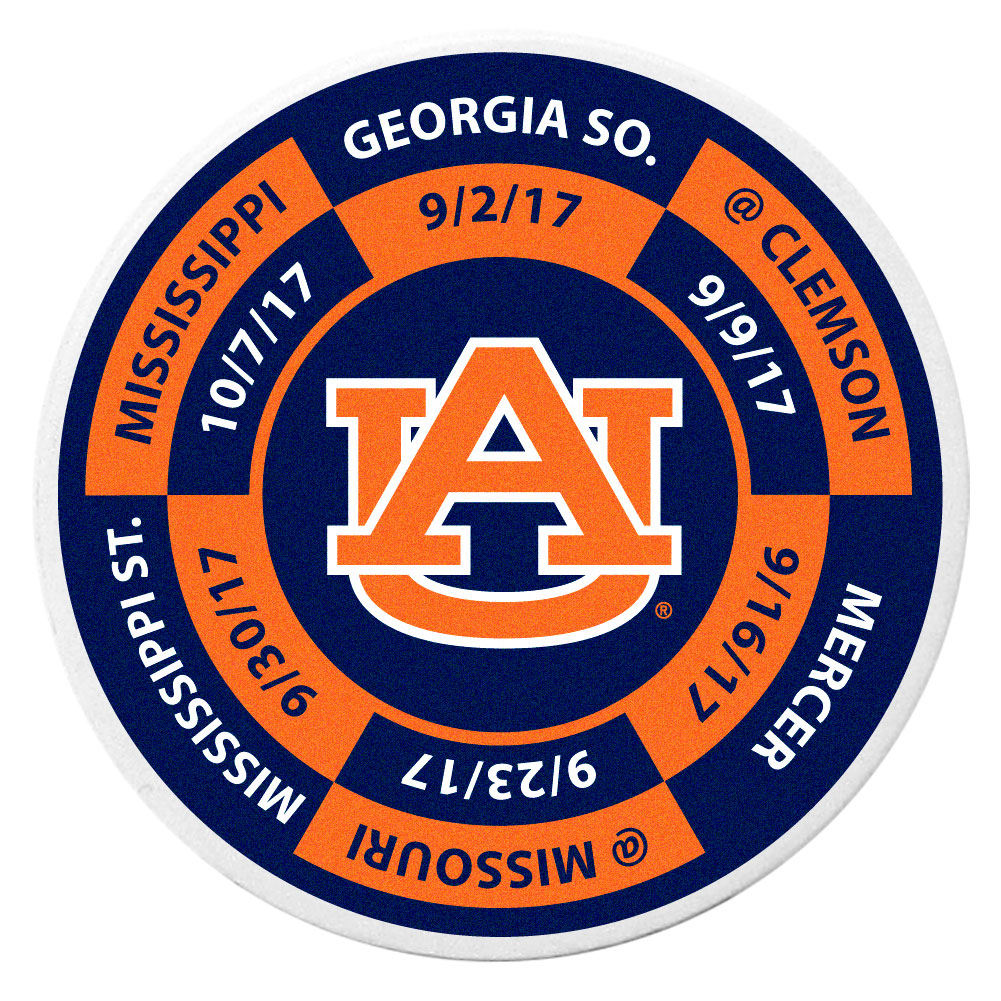 Auburn Tigers Schedule Golf Ball Marker Coin - Trick out your golf gear with our Auburn Tigers schedule coin that acts as a golf ball marker when on the links or a cool collector's item. The light weight coin features the teams football schedule in vivid team colors.