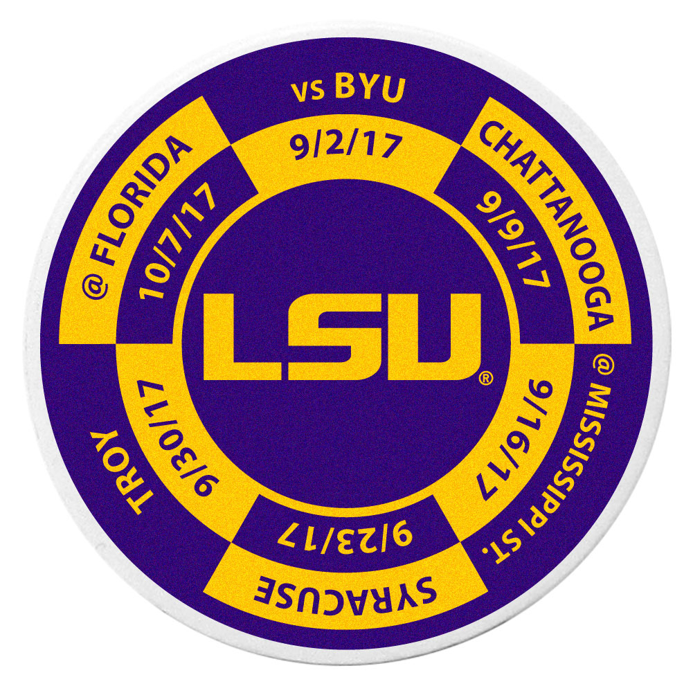 LSU Tigers Schedule Golf Ball Marker Coin - Trick out your golf gear with our LSU Tigers schedule coin that acts as a golf ball marker when on the links or a cool collector's item. The light weight coin features the teams football schedule in vivid team colors.