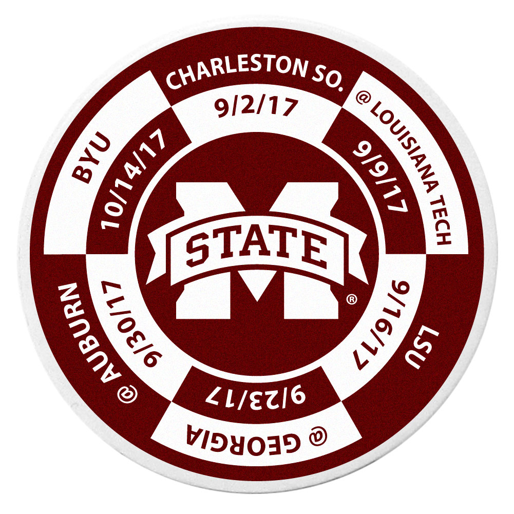 Mississippi St. Bulldogs Schedule Golf Ball Marker Coin - Trick out your golf gear with our Mississippi St. Bulldogs schedule coin that acts as a golf ball marker when on the links or a cool collector's item. The light weight coin features the teams football schedule in vivid team colors.