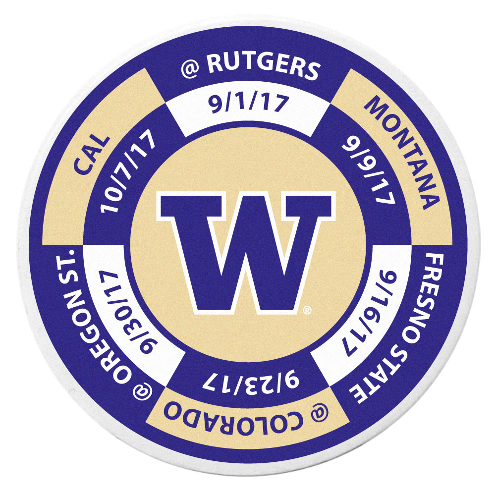 Washington Huskies Schedule Golf Ball Marker Coin - Trick out your golf gear with our Washington Huskies schedule coin that acts as a golf ball marker when on the links or a cool collector's item. The light weight coin features the teams football schedule in vivid team colors.