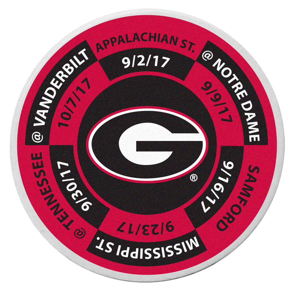 Georgia Bulldogs Schedule Golf Ball Marker Coin - Trick out your golf gear with our Georgia Bulldogs schedule coin that acts as a golf ball marker when on the links or a cool collector's item. The light weight coin features the teams football schedule in vivid team colors.