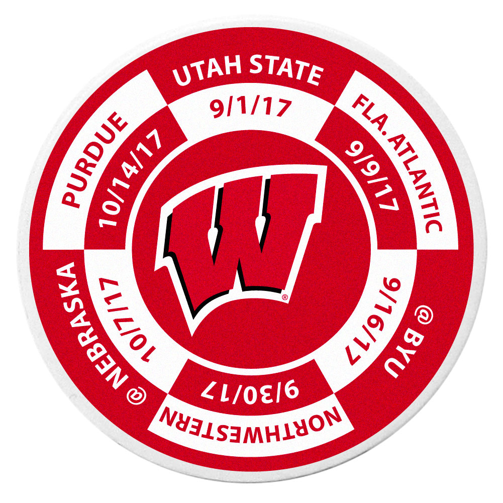 Wisconsin Badgers Schedule Golf Ball Marker Coin - Trick out your golf gear with our Wisconsin Badgers schedule coin that acts as a golf ball marker when on the links or a cool collector's item. The light weight coin features the teams football schedule in vivid team colors.