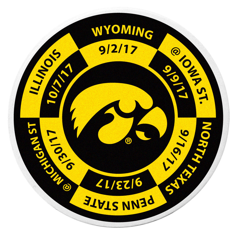 Iowa Hawkeyes Schedule Golf Ball Marker Coin - Trick out your golf gear with our Iowa Hawkeyes schedule coin that acts as a golf ball marker when on the links or a cool collector's item. The light weight coin features the teams football schedule in vivid team colors.