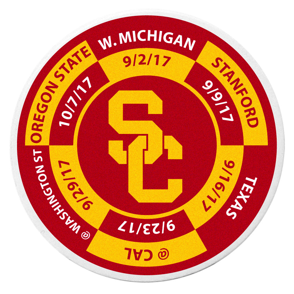 USC Trojans Schedule Golf Ball Marker Coin - Trick out your golf gear with our USC Trojans schedule coin that acts as a golf ball marker when on the links or a cool collector's item. The light weight coin features the teams football schedule in vivid team colors.