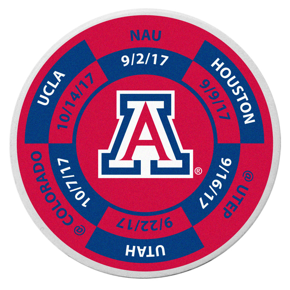 Arizona Wildcats Schedule Golf Ball Marker Coin - Trick out your golf gear with our Arizona Wildcats schedule coin that acts as a golf ball marker when on the links or a cool collector's item. The light weight coin features the teams football schedule in vivid team colors.