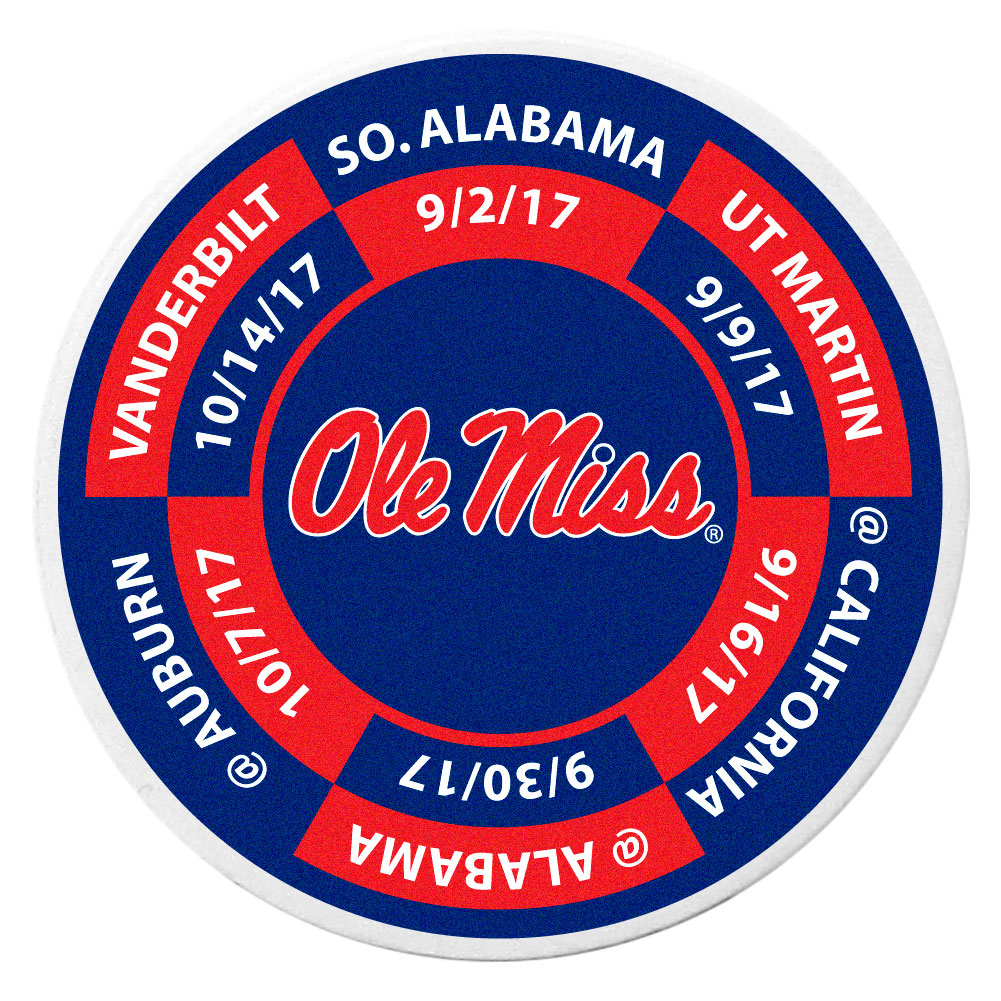 Mississippi Rebels Schedule Golf Ball Marker Coin - Trick out your golf gear with our Mississippi Rebels schedule coin that acts as a golf ball marker when on the links or a cool collector's item. The light weight coin features the teams football schedule in vivid team colors.