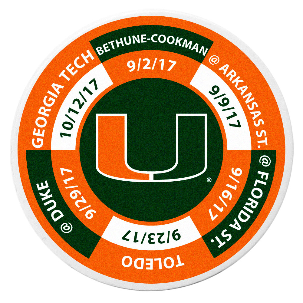 Miami Hurricanes Schedule Golf Ball Marker Coin - Trick out your golf gear with our Miami Hurricanes schedule coin that acts as a golf ball marker when on the links or a cool collector's item. The light weight coin features the teams football schedule in vivid team colors.