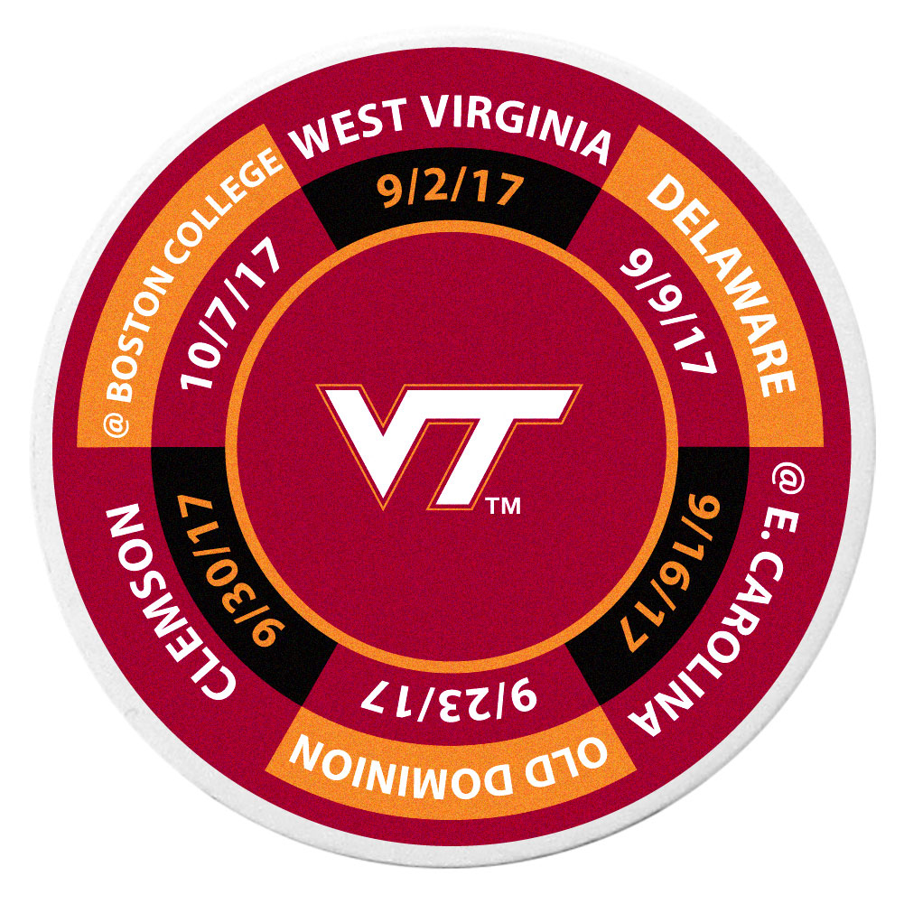 Virginia Tech Hokies Schedule Golf Ball Marker Coin - Trick out your golf gear with our Virginia Tech Hokies schedule coin that acts as a golf ball marker when on the links or a cool collector's item. The light weight coin features the teams football schedule in vivid team colors.