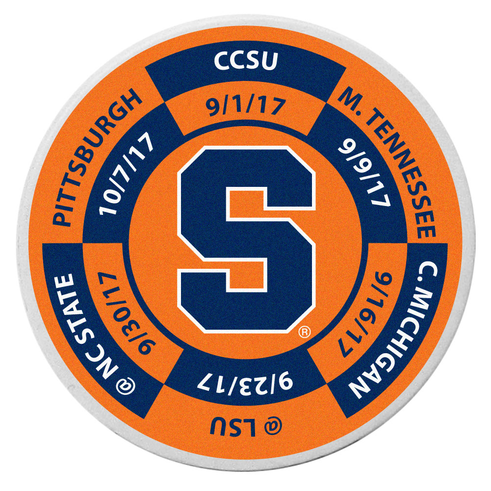 Syracuse Orange Schedule Golf Ball Marker Coin - Trick out your golf gear with our Syracuse Orange schedule coin that acts as a golf ball marker when on the links or a cool collector's item. The light weight coin features the teams football schedule in vivid team colors.