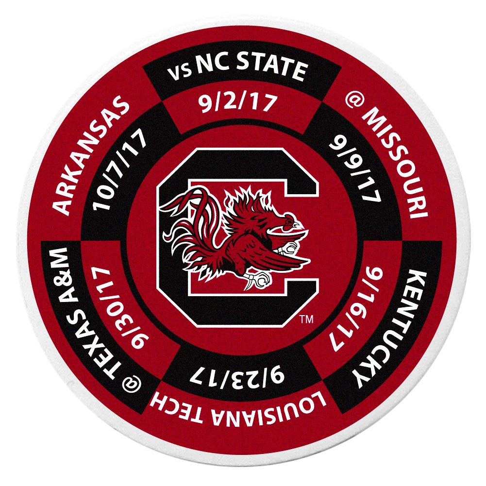 S. Carolina Gamecocks Schedule Golf Ball Marker Coin - Trick out your golf gear with our S. Carolina Gamecocks schedule coin that acts as a golf ball marker when on the links or a cool collector's item. The light weight coin features the teams football schedule in vivid team colors.