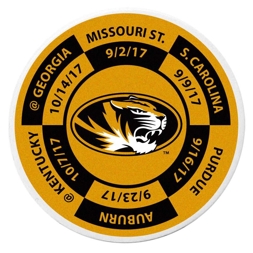 Missouri Tigers Schedule Golf Ball Marker Coin - Trick out your golf gear with our Missouri Tigers schedule coin that acts as a golf ball marker when on the links or a cool collector's item. The light weight coin features the teams football schedule in vivid team colors.