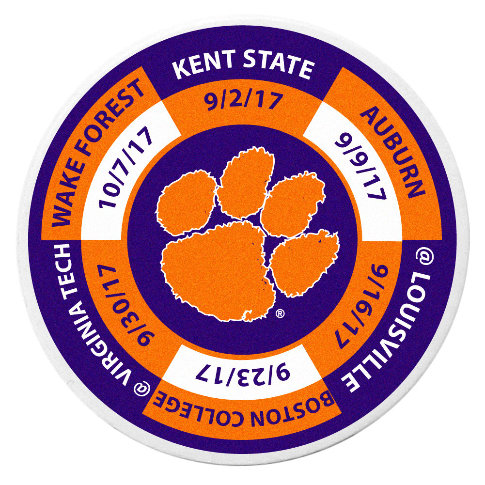 Clemson Tigers Schedule Golf Ball Marker Coin - Trick out your golf gear with our Clemson Tigers schedule coin that acts as a golf ball marker when on the links or a cool collector's item. The light weight coin features the teams football schedule in vivid team colors.