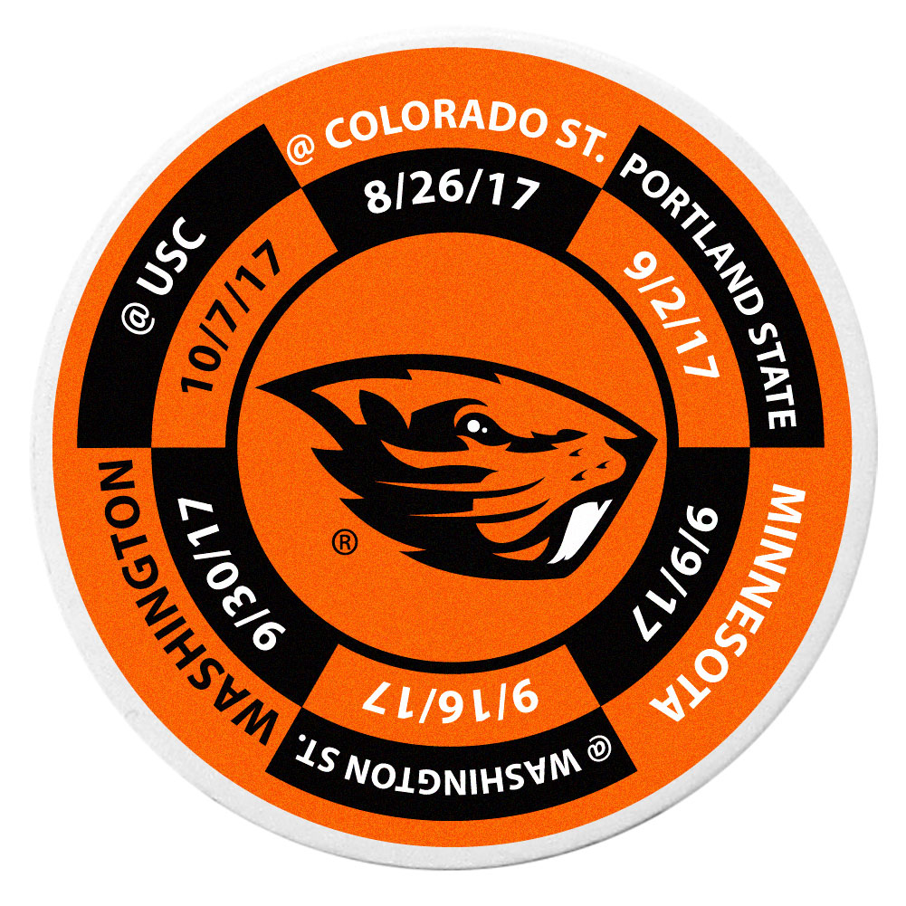 Oregon St. Beavers Schedule Golf Ball Marker Coin - Trick out your golf gear with our Oregon St. Beavers schedule coin that acts as a golf ball marker when on the links or a cool collector's item. The light weight coin features the teams football schedule in vivid team colors.