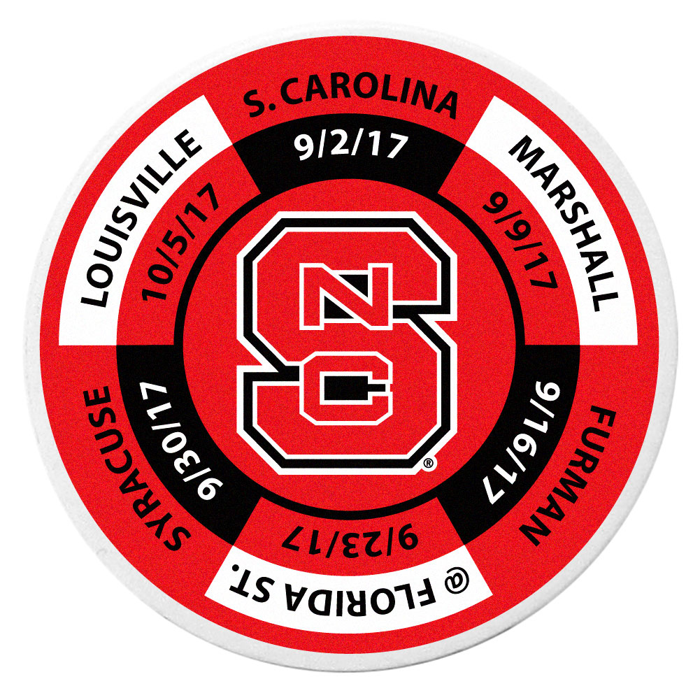 N. Carolina St. Wolfpack Schedule Golf Ball Marker Coin - Trick out your golf gear with our N. Carolina St. Wolfpack schedule coin that acts as a golf ball marker when on the links or a cool collector's item. The light weight coin features the teams football schedule in vivid team colors.