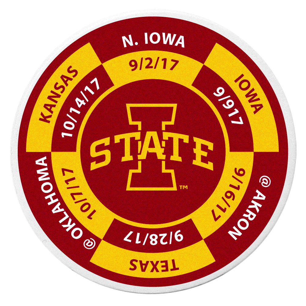 Iowa St. Cyclones Schedule Golf Ball Marker Coin - Trick out your golf gear with our Iowa St. Cyclones schedule coin that acts as a golf ball marker when on the links or a cool collector's item. The light weight coin features the teams football schedule in vivid team colors.
