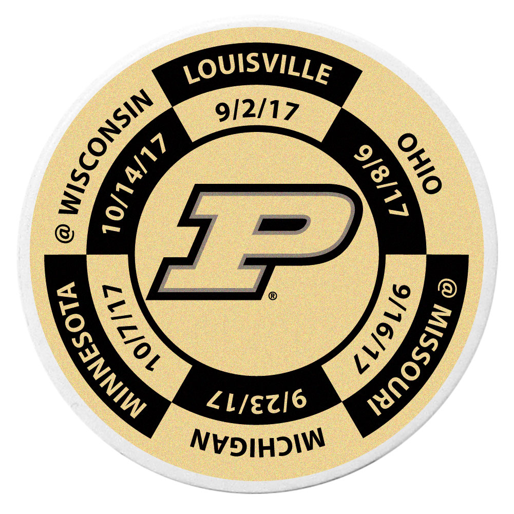 Purdue Boilermakers Schedule Golf Ball Marker Coin - Trick out your golf gear with our Purdue Boilermakers schedule coin that acts as a golf ball marker when on the links or a cool collector's item. The light weight coin features the teams football schedule in vivid team colors.
