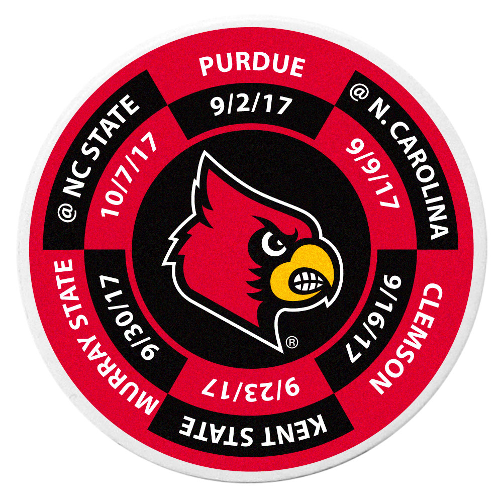 Louisville Cardinals Schedule Golf Ball Marker Coin - Trick out your golf gear with our Louisville Cardinals schedule coin that acts as a golf ball marker when on the links or a cool collector's item. The light weight coin features the teams football schedule in vivid team colors.