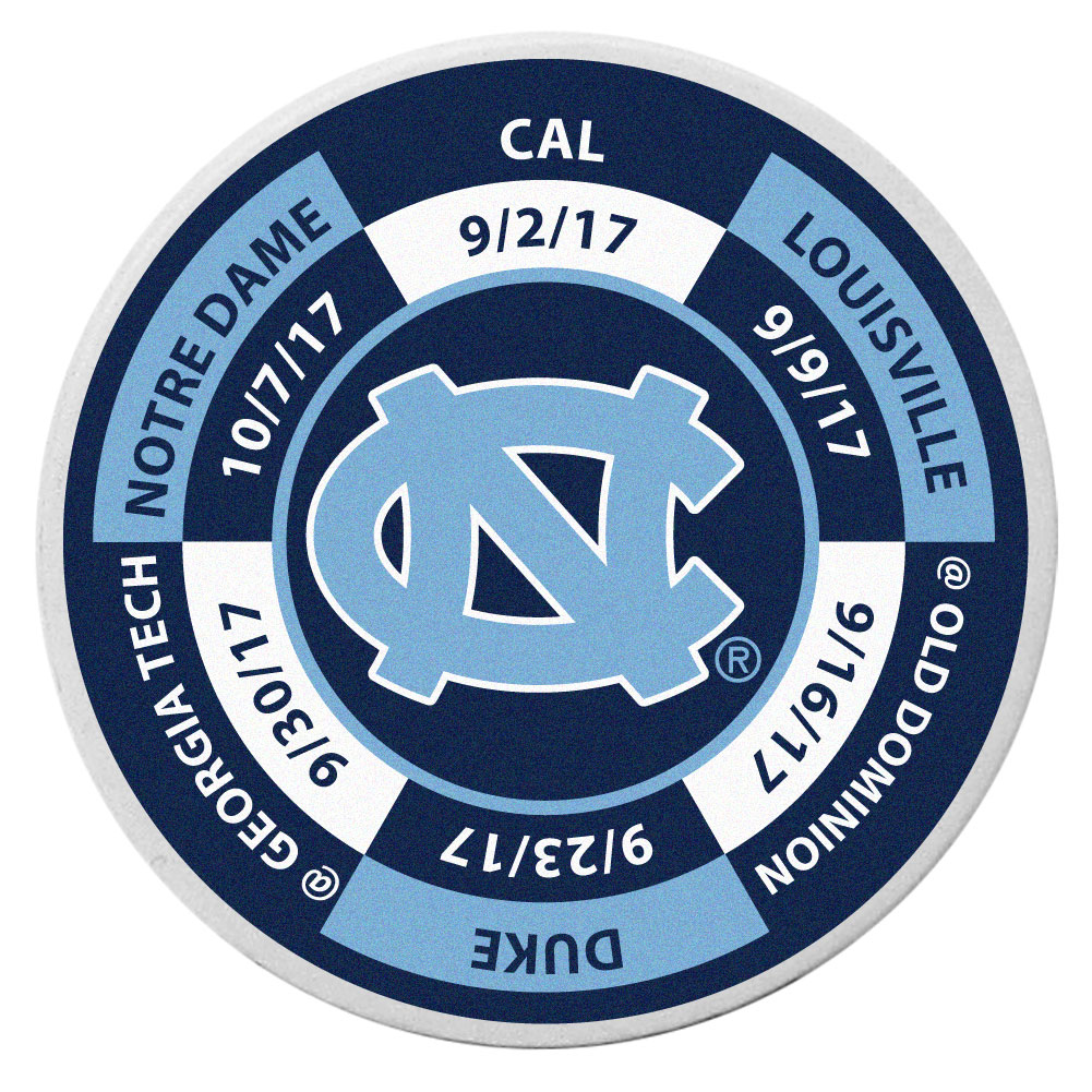 N. Carolina Tar Heels Schedule Golf Ball Marker Coin - Trick out your golf gear with our N. Carolina Tar Heels schedule coin that acts as a golf ball marker when on the links or a cool collector's item. The light weight coin features the teams football schedule in vivid team colors.