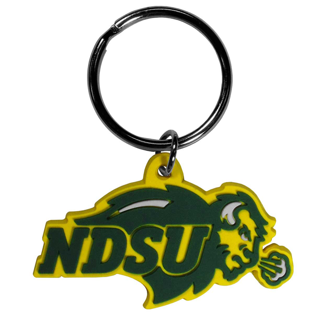 N. Dakota St. Bison Flex Key Chain - Our fun, flexible N. Dakota St. Bison key chains are made of a rubbery material that is layered to create a bright, textured logo.
