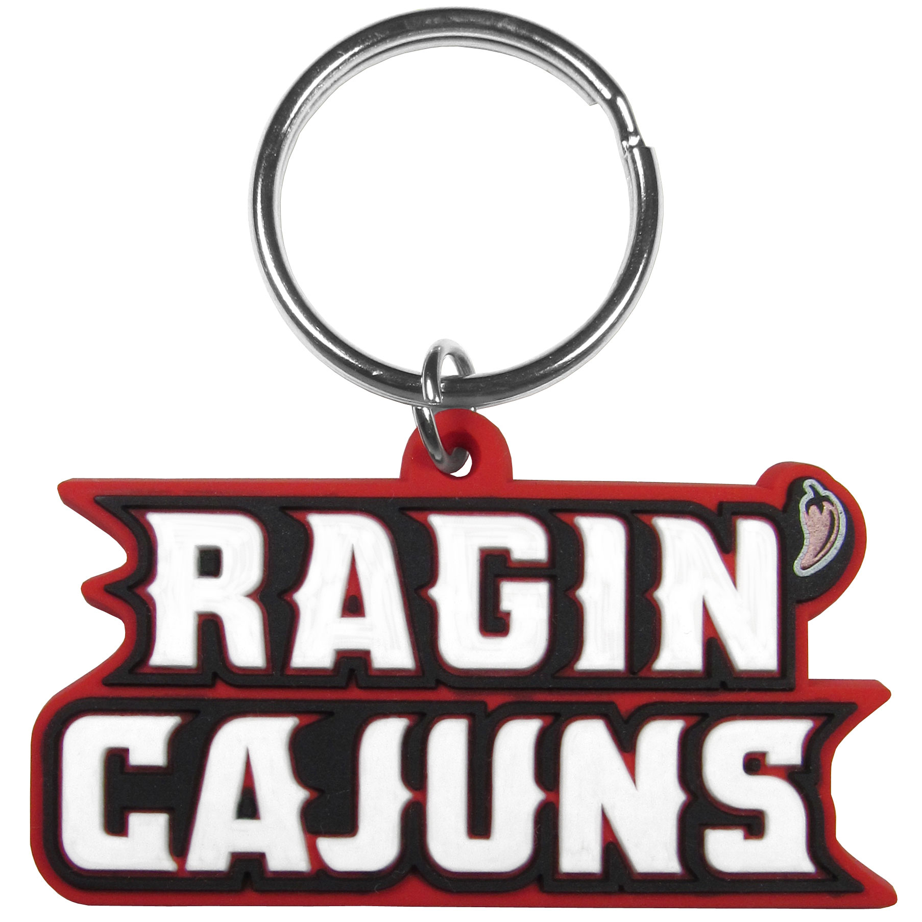 Louisiana Layfayette Ragin' Cajuns Flex Key Chain - Our fun, flexible Louisiana Layfayette Ragin' Cajuns key chains are made of a rubbery material that is layered to create a bright, textured logo.