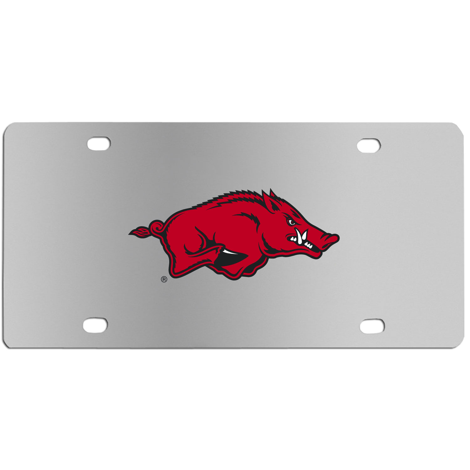 Arkansas Razorbacks Steel License Plate Wall Plaque - This high-quality stainless steel license plate features a detailed team logo on a the polished surface. The attractive plate is perfect for wall mounting in your home or office to become the perfect die-hard Arkansas Razorbacks fan decor.