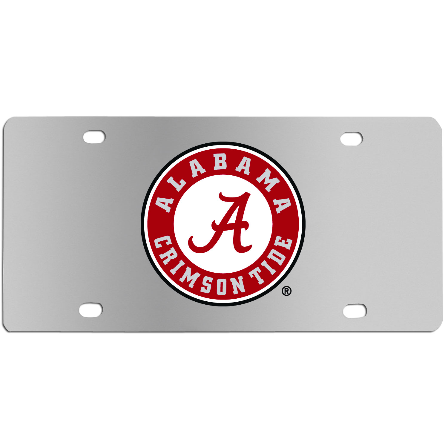Alabama Crimson Tide Steel License Plate Wall Plaque - This high-quality stainless steel license plate features a detailed team logo on a the polished surface. The attractive plate is perfect for wall mounting in your home or office to become the perfect die-hard Alabama Crimson Tide fan decor.