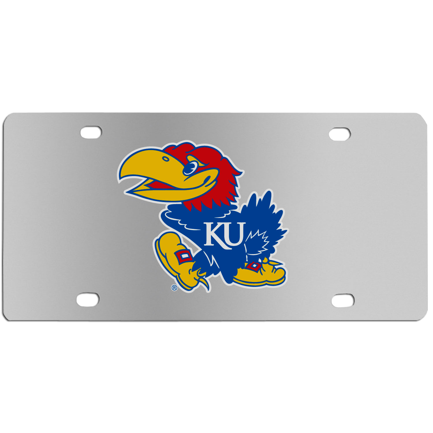Kansas Jayhawks Steel License Plate Wall Plaque - This high-quality stainless steel license plate features a detailed team logo on a the polished surface. The attractive plate is perfect for wall mounting in your home or office to become the perfect die-hard Kansas Jayhawks fan decor.
