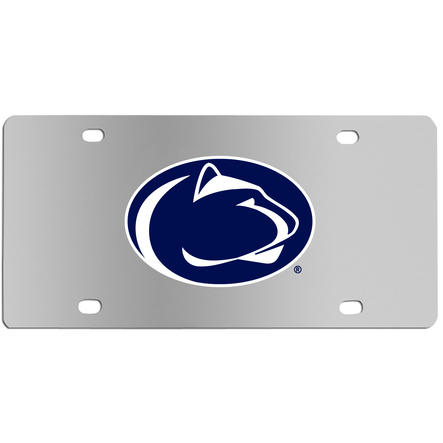 Penn St. Nittany Lions Steel License Plate Wall Plaque - This high-quality stainless steel license plate features a detailed team logo on a the polished surface. The attractive plate is perfect for wall mounting in your home or office to become the perfect die-hard Penn St. Nittany Lions fan decor.