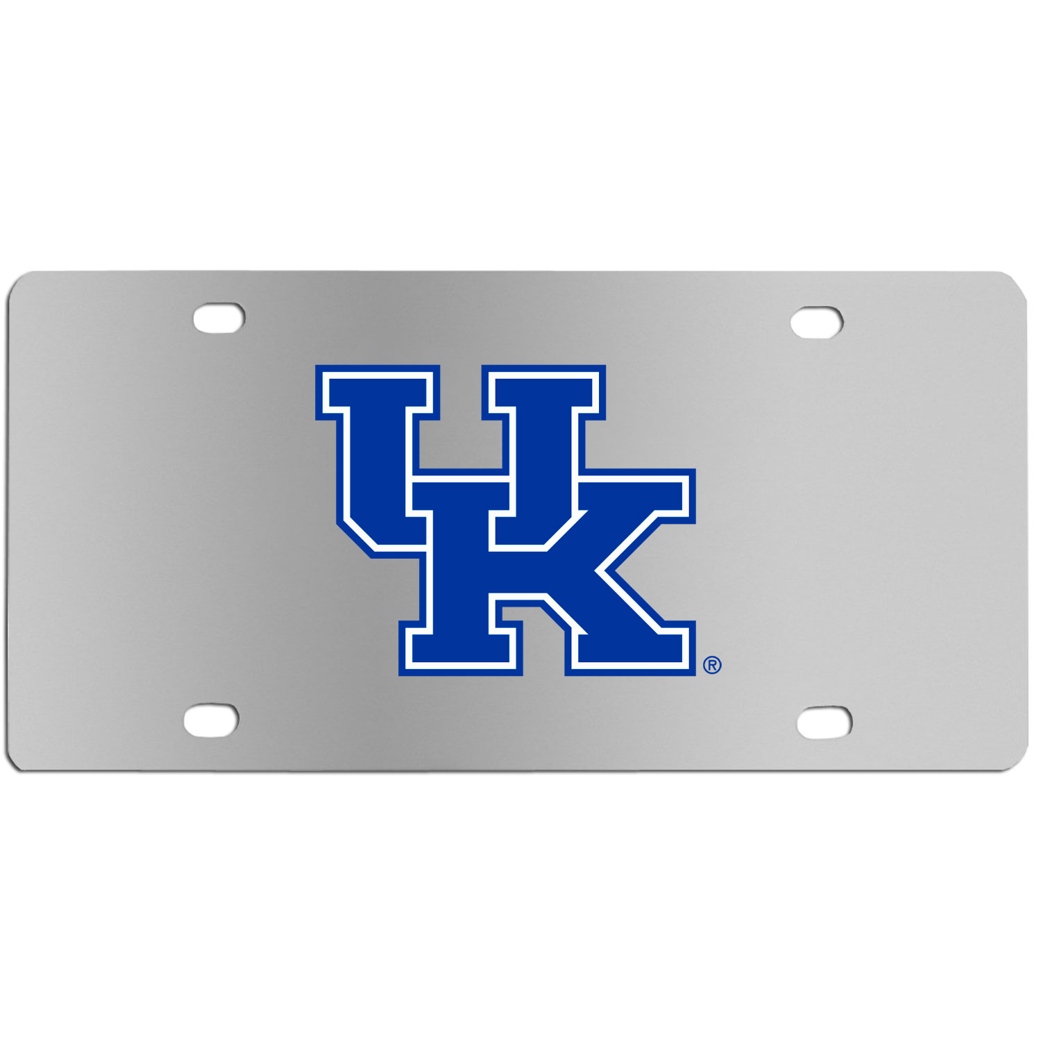 Kentucky Wildcats Steel License Plate Wall Plaque - This high-quality stainless steel license plate features a detailed team logo on a the polished surface. The attractive plate is perfect for wall mounting in your home or office to become the perfect die-hard Kentucky Wildcats fan decor.