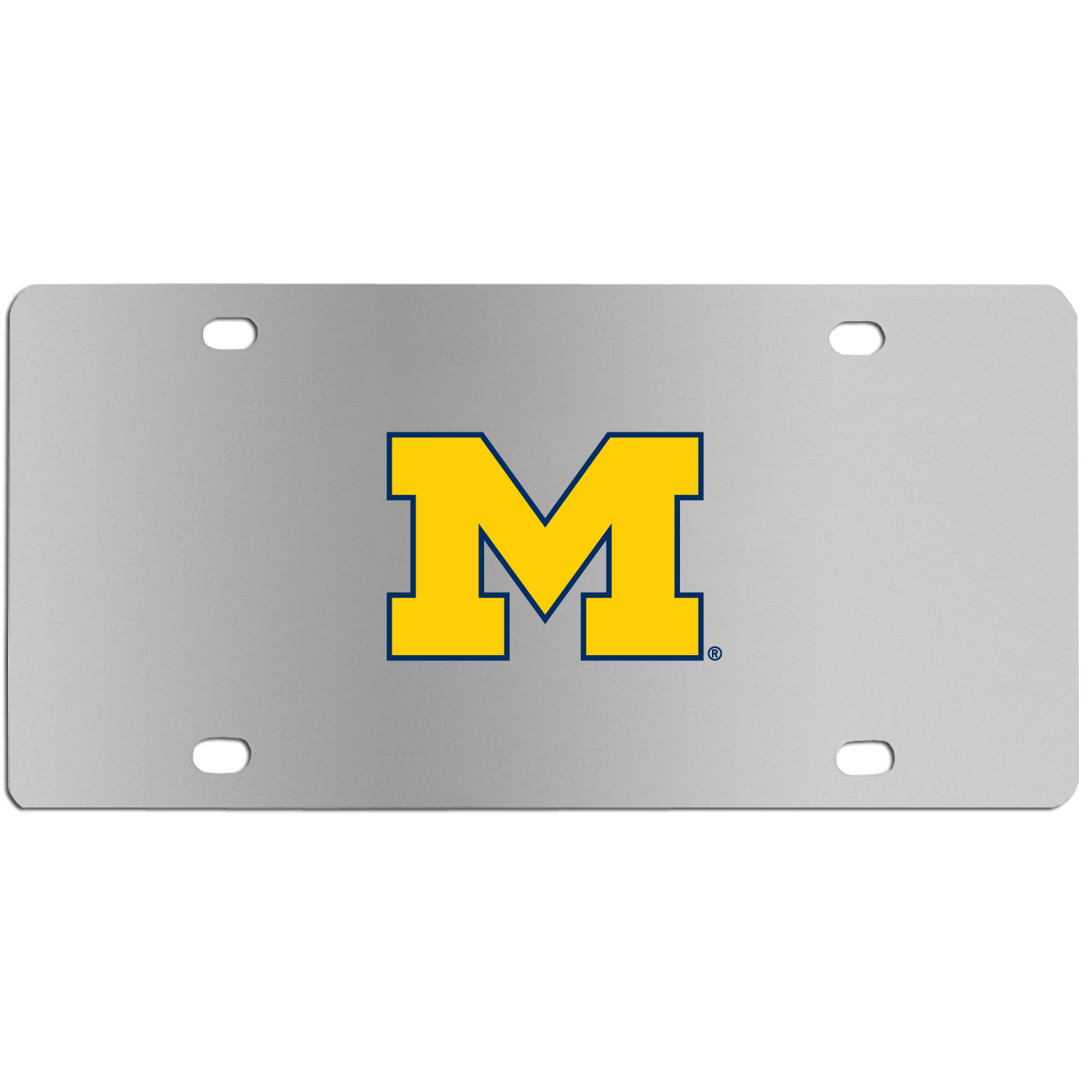 Michigan Wolverines Steel License Plate Wall Plaque - This high-quality stainless steel license plate features a detailed team logo on a the polished surface. The attractive plate is perfect for wall mounting in your home or office to become the perfect die-hard Michigan Wolverines fan decor.